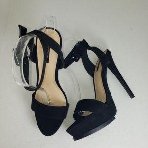 Forever 21 Black Platform Ankle Buckle Heels